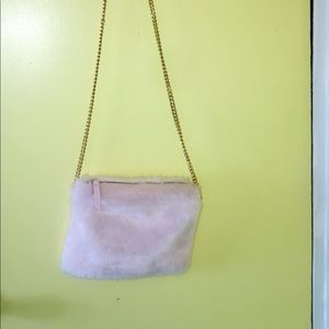 Light pink faux fur purse